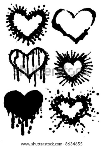 vector Illustration of different shapes of heart in Grunge ink-blot style.