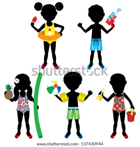 Vector Illustration of 5 different summer kids dressed for beach or pool. - stock vector
