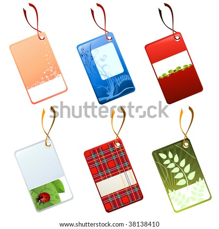 Vector illustration of different tags, decorated with flowers, leaves and other patterns.