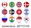 Vector illustration of different time zone on national flag clock - stock vector