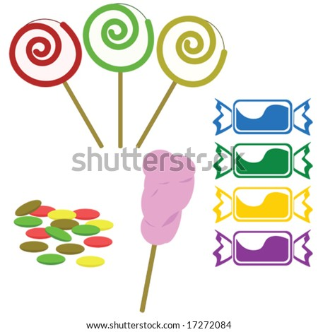 Vector illustration of different types of candies - stock vector