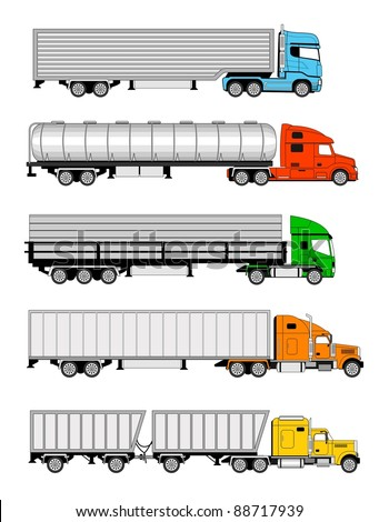 Vector illustration of  different types of larges trucks - stock vector