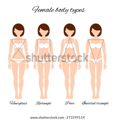 Vector illustration of different women's figures. Four female body types: hourglass, rectangle, pear, inverted triangle. - stock vector