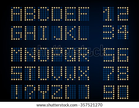 Vector illustration of digital glowing letters and numerals. Editable graphic illuminated alphabet useful for countdown, clock, electronic signboard or tableau creative design.