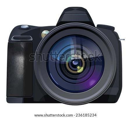 Vector  illustration of  digital single-lens reflex camera. Simple gradients only, no gradient mesh. - stock vector