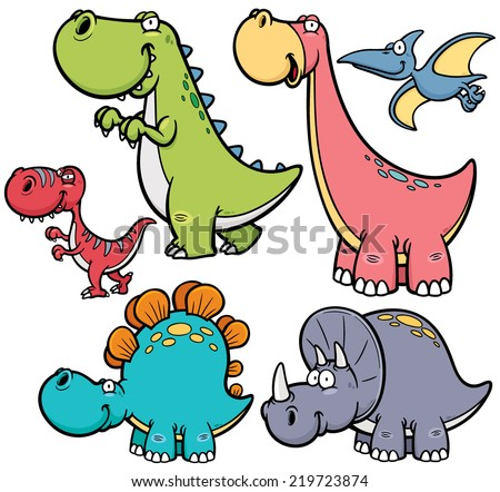 Vector illustration of Dinosaurs cartoon characters - stock vector