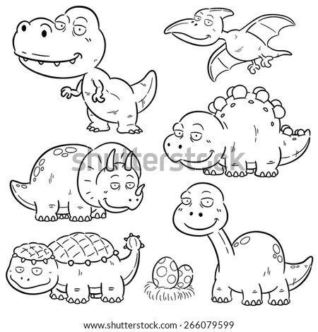 Vector Illustration Dinosaurs Cartoon Characters Coloring 266079599