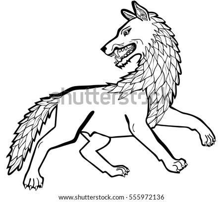 Vector Illustration Dire Wolf Black White Stock Vector ...