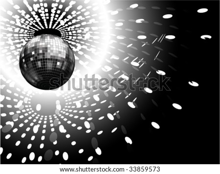 vector illustration of disco globe and light reflections - stock vector