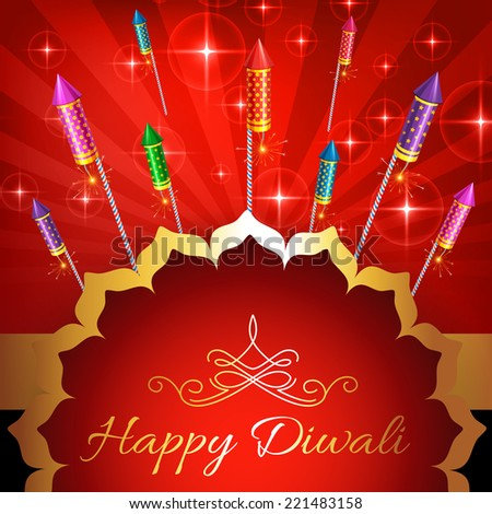 vector illustration of diwali background with lot of crackers