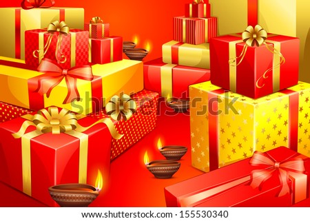 vector illustration of Diwali Gift with clay lamp
