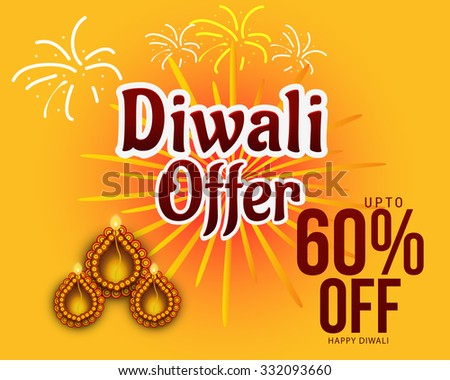 vector illustration of diwali offers sale banners with decorated Diwali diya.