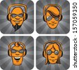 Vector illustration of DJ heads enjoying music. Easy-edit layered vector EPS10 file scalable to any size without quality loss. High resolution raster JPG file is included. - stock