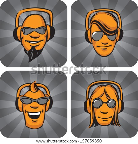 Vector illustration of DJ heads enjoying music. Easy-edit layered vector EPS10 file scalable to any size without quality loss. High resolution raster JPG file is included. - stock vector