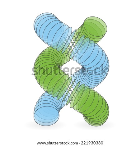 Vector illustration of dna structure in 3d. Can be used as background for your  presentation. - stock vector