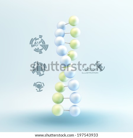 Vector illustration of dna structure in 3d. With place for text.