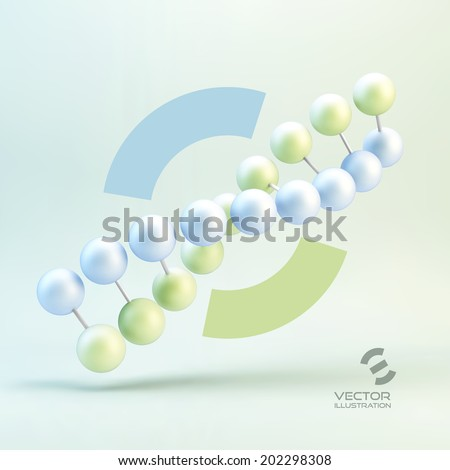 Vector illustration of dna structure in 3d. With place for text. - stock vector