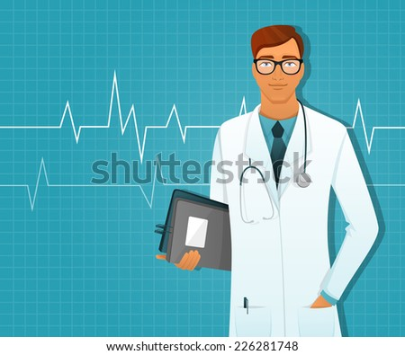 Vector illustration of Doctor man - stock vector