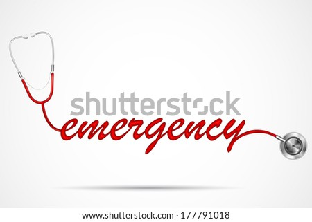 vector illustration of doctor's stethoscope forming emergency word
