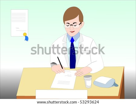 Vector illustration of doctor writing a   prescription