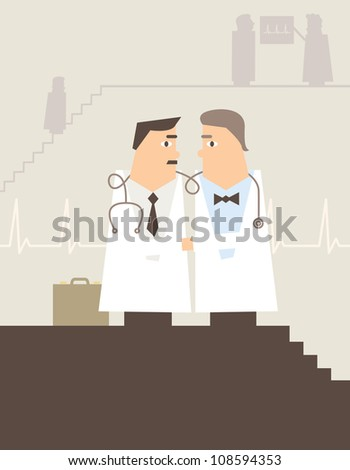 Vector illustration of doctors shaking hands in a hospital or GP surgery
