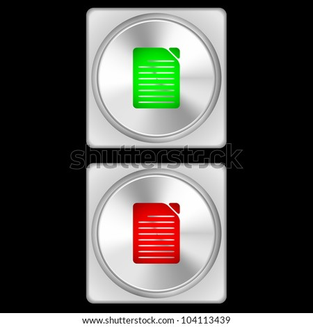 Vector illustration of document buttons in two stages - green and red.