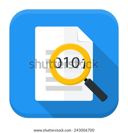 Vector illustration of document with magnifying glass. Flat app square icon with long shadow. - stock vector