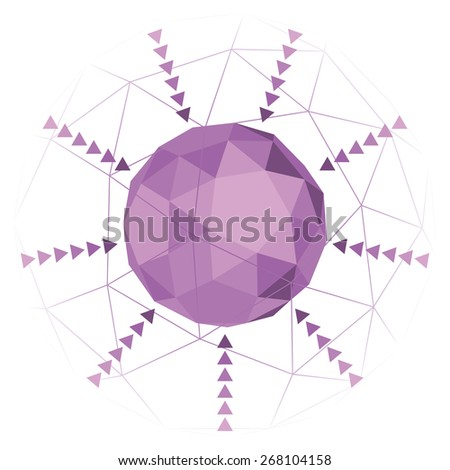 Vector illustration of Dodecahedron. Design with regular purple polyhedron - stock vector