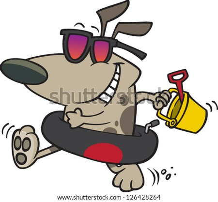 Vector illustration of dog wearing sunglasses and swim ring with sand pail