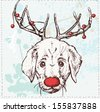 Vector illustration of dog with horns and red hose, Christmas funny deer on grunge background, Best for cute cards, invitations and banners - stock vector