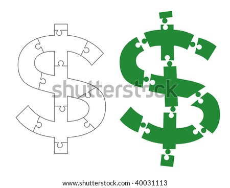 Vector illustration of dollar sign sliced into puzzle pieces