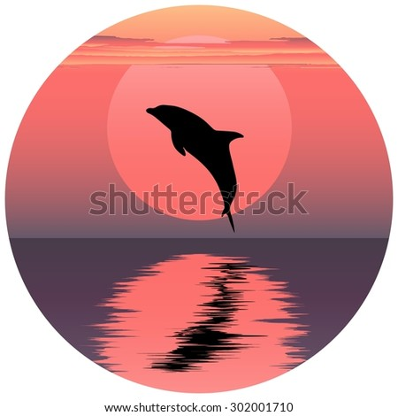 Vector illustration of dolphin. Jumping dolphin. Dolphin at sunset. Dolphin at sunrise. Dolphin reflected in water. Ocean animal. Sea friend of humans. - stock vector