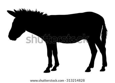Vector illustration of donkey silhouette - stock vector