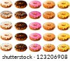 Vector illustration of donuts with various frostings and toppings. - stock vector
