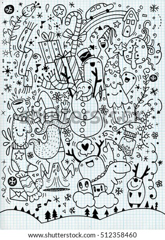 Vector illustration of Doodle Christmas background ,Hand drawing Doodle