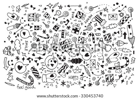 Vector illustration of Doodle Christmas background ,Hand drawing Doodle,Flat Design