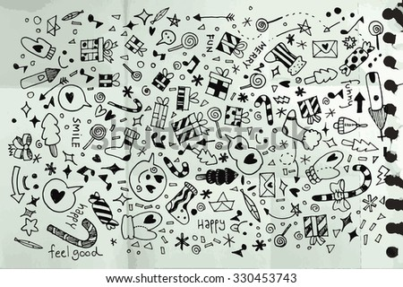 Vector illustration of Doodle Christmas background ,Hand drawing Doodle,Texture of crumpled paper