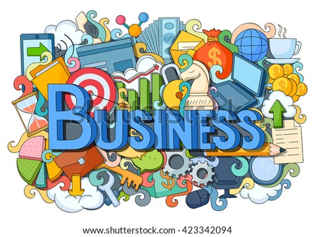 vector illustration of doodle on Business concept - stock vector