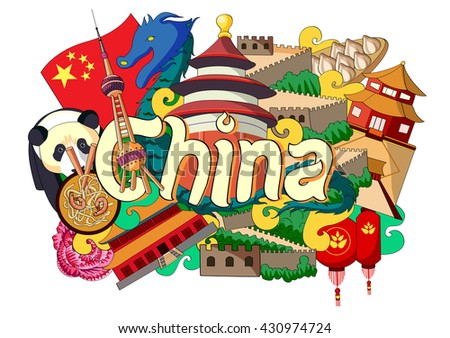 vector illustration of Doodle showing Architecture and Culture of China - stock vector