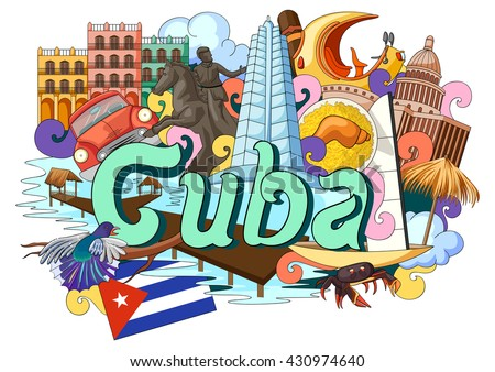 vector illustration of Doodle showing Architecture and Culture of  Cuba - stock vector