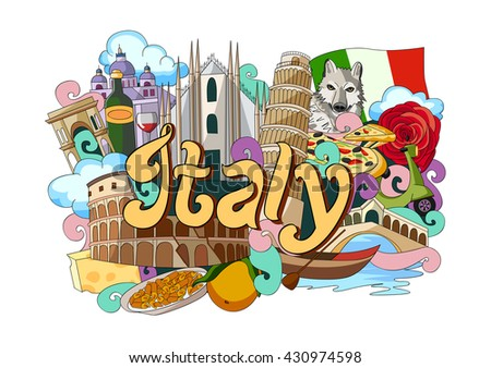 vector illustration of Doodle showing Architecture and Culture of Italy - stock vector