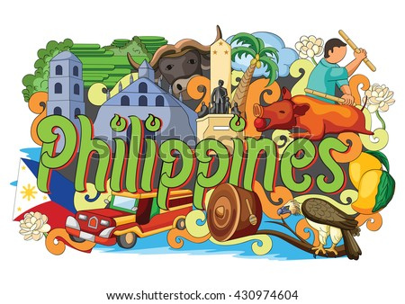 vector illustration of Doodle showing Architecture and Culture of Philippines - stock vector