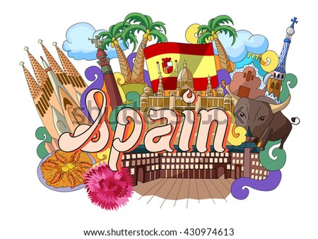 vector illustration of Doodle showing Architecture and Culture of Spain