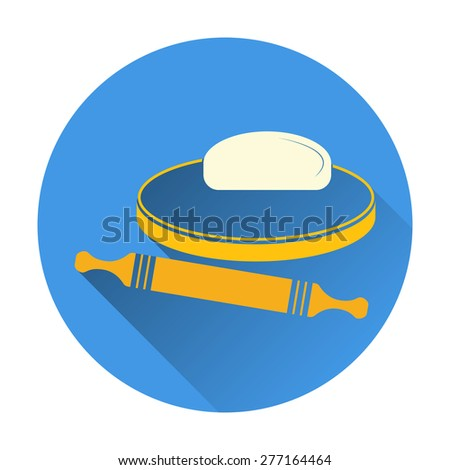 Vector illustration of dough and rolling pin on a wooden board. Icon on white background. Color flat design with long shadow. - stock vector