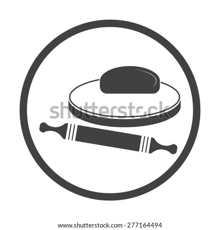 Vector illustration of dough and rolling pin on a wooden board. Icon on white background. Round. - stock vector