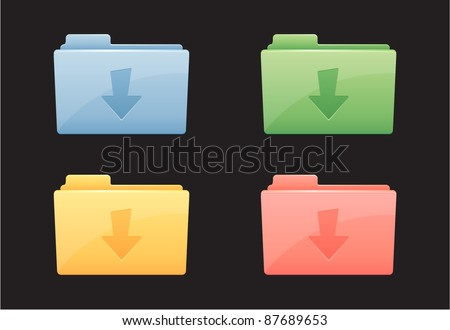 Vector illustration of download colorful folder icon - stock vector