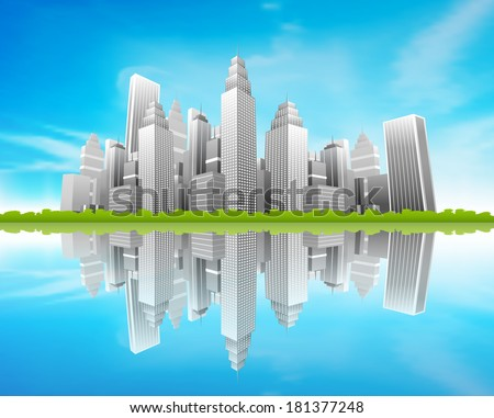 Vector illustration of downtown district. - stock vector