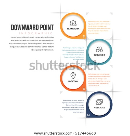 Vector illustration of downward point infographic design element.