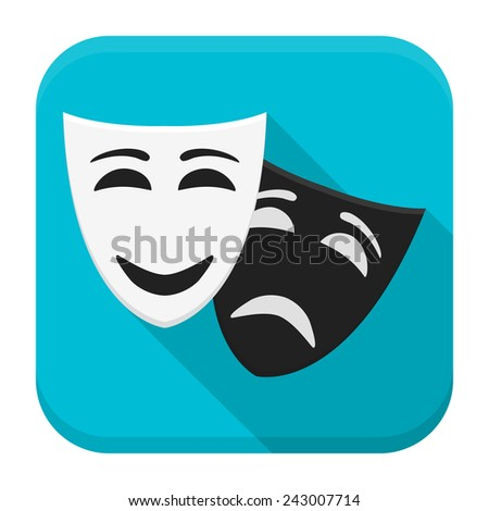 Vector illustration of drama. Flat app square icon with long shadow. - stock vector