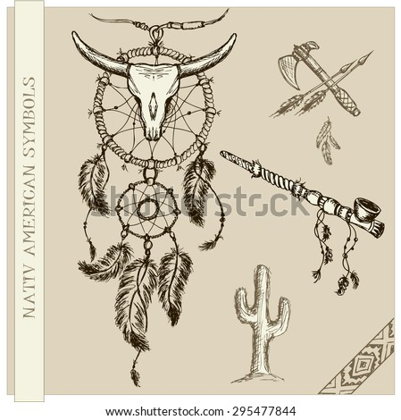 Vector  illustration of dream catcher and  Indian symbols - stock vector